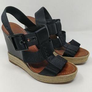Coach Black Maryanne Logo Platform Sandal Size 7.5